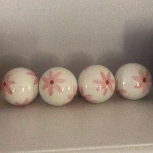 PB Teen Color Burst Finials -  Pink Flowers